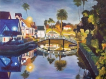 Venice Canal Night landscape oil painting
