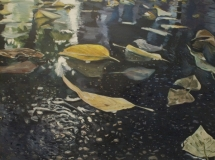 Leaves on the street in Budapest oil painting