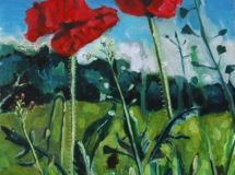 Poppies landscape oil painting